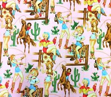 AH262 Sexy Pin Up Cowgirls From The Hip Rodeo Western Boots Cotton Quilt Fabric