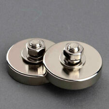 2PC Strong Disc Magnet Male Thread 43KG Round Neodymium Industrial Magnetic Base