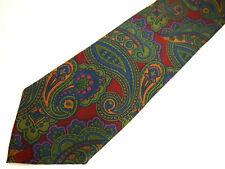 "Saddlebred Mens Necktie Tie Red Green Blue Paisley Silk 59"""