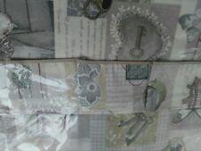 Tovaglia in plastica con vola in cotone disegno Shabby in grigio