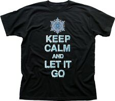 Keep Calm And Let It Go Frozen Ana Elsa Black printed cotton t-shirt 9702