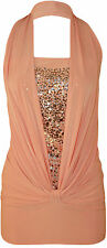 New Ladies Womens  Scequin Halter Neck Soft Touch Stretch Sleeveless Top