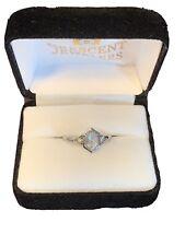 White Gold Diamond Engagement Ring Vintage Style Rose Cut 14 Karat