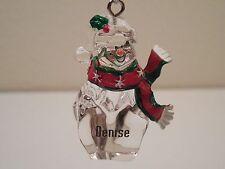 "Ganz Clear Plastic Personalized ""Denise"" Snowman Ornament or Decoration ~ 2"""