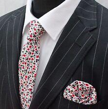 Tie Neck tie with Handkerchief Slim White Multi floral Quality Cotton MTC15