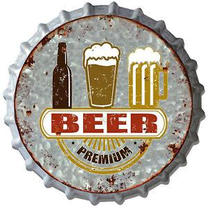 """Premium Beer"" 33cm Metal Bottle Top Novelty Wall Sign for Bar Man Cave Dad Shed"