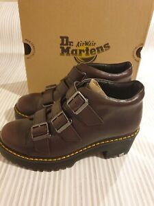 Dr Martens Coppola Burgundy Vintage Leather Platform Heel Boots UK 5 EU 38 New
