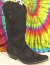size 8 vintage 90s black suede leather KENNETH COLE UNLISTED cowboy boots