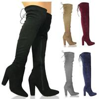 Ladies Womens Block High Heel Thigh Over The Knee Stretch Suede Sexy Boots Size