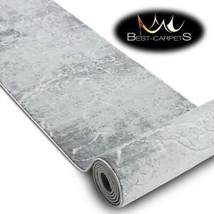 Modern Hall Runner structural MEFE cracked concrete grey 60-200cm long RUGS