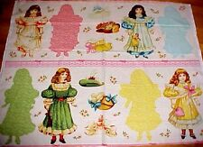 "Blue Hill Victorian Paper Dolls Fabric Craft Panel 15"" Vtg Doll Cut-Outs Repro"