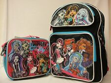 "Monster High Large 16"" Backpack with Lunch Bag Black background & blue zipper"