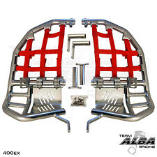 Honda TRX 400EX 400X  Nerf Bars  Pro Peg Heel Gaurds  Alba Racing  Silver Red