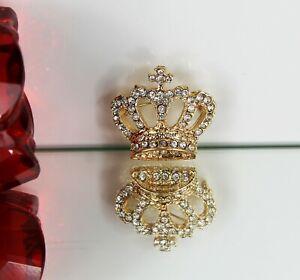 Diamante Crystal Gold Coloured Royal Crown Pin Brooch