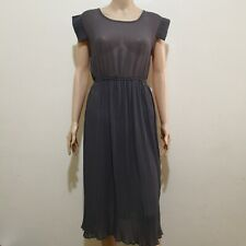 C311 - Kenki Gray Sheer Dress with Pleated Skirt: Repriced