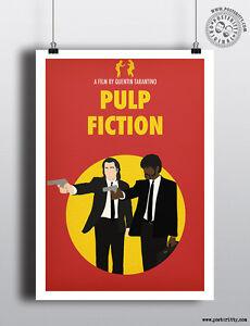 PULP FICTION - Minimalist Tarantino Movie Poster, Minimal Film Posteritty design