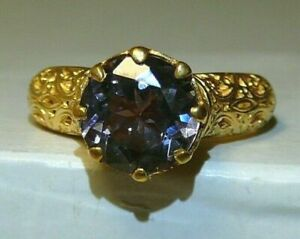 Ring 24 k Yellow Gold-Plate Alexandrite (Lab.) Sterling Silver 925.