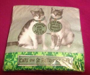 Hallmark Cats on St Patrick's Day 16 Napkins~NEW~Ignore Me Im Irish~Kiss Scratch
