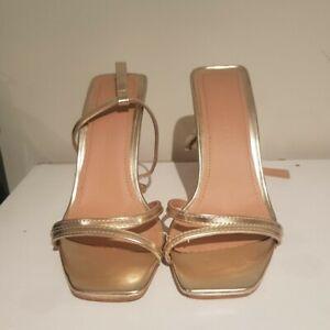 Boohoo Metallic Gold Heels strappy thin heel AUS SIZE 6