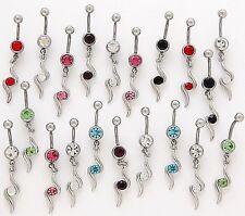 Wholesale Cz 14g Body Jewelry Gemstone 10 Assorted Elegant Dangle Belly Rings