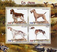 Benin 2015 MNH Dogs 4v M/S English Setter Springer Spaniel Whippet Pets Stamps