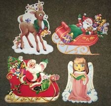 4 Diecut CHRISTMAS DECORATIONS Reindeer Angel Santa Sleigh VINTAGE