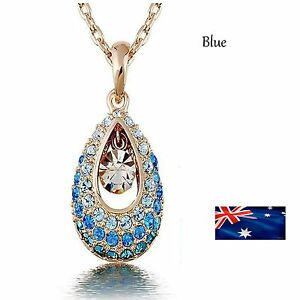 Crystal Gold Filled Drop Pendant Necklace Rhinestone Jewelry