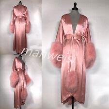 Pink Nightgown Sleepwear Bathrobe Faux Fur Bridesmaid Long Robes For Wedding Spa