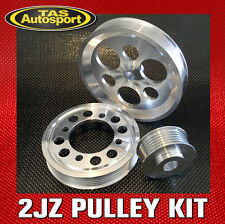 LIGHTWEIGHT PULLEY KIT, Toyota 2JZ 1JZ Supra Chaser Aristo. SILVER Pulleys