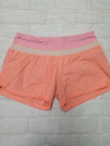 Lululemon Womens yoga running 'Speed Up' shorts '4 in Orange/Pink Size 6