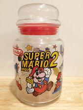Vintage Super Mario Bros 2 glass jar Nintendo NES 1989