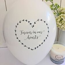 25 White 'Forever In Our Hearts' Funeral Remembrance Condolence Balloons
