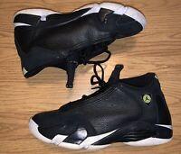 Nike Air Jordan 14 Retro indiglo Og Gs SZ 5Y Black Vivid Green 487524-005