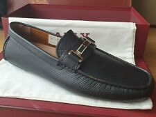 NIB BALLY DRULIO BLACK PERFORATED LEATHER METAL LOGO DRIVING LOAFERS UK 10 EU 44