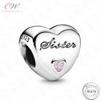 Sister Heart Charm Genuine 925 Sterling Silver 💞 Birthday Gift