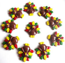 10 CHRISTMAS TURKEY FLATBACK KITCH CABOCHONS RESIN DECODEN - FAST SHIPPING