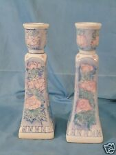 Vintage Pair of Pink & Blue Ceramic Candlesticks Red Stamped Made in China