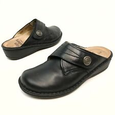 Finn Comfort Women Black Leather Mules Clogs Sz 7.5D Eu38 Wedge Foot-Bed EUC