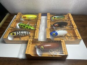 Arbogast Jitterbug Wood Fishing Lure Set of 7 in Boxes