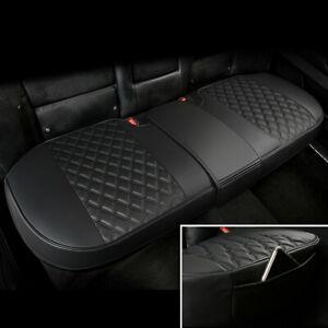 Black Car Rear Seat Cover Cushion PU Leather Comfortable Non-slip w/Storage bag