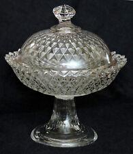 "eapg Covered Compote, lid, flint, diamond invert, pattern glass, 7"", c1860"
