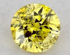 0.14 CT FANCY VIVID YELLOW COLOR ROUND GIA CERT LOOSE DIAMOND TAX FREE Gift