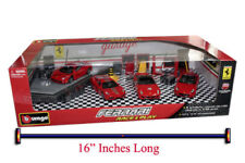 FERRARI PLAY SET OF 4 CARS W/ RACE TEAM ACCESSORIES 1/43 BY BBURAGO 18-31214 NEW