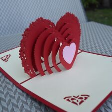 3D Love Heart Card ~Anniversary Valentine Wedding Pop Up Pop-up Greeting Card E1