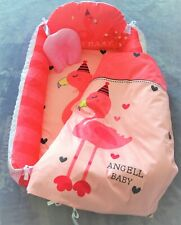 Baby Sleeper Angell Baby Cotton Portable Lounger and Sleeper with Pink Flamingo