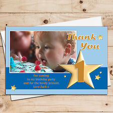 10 Personalised Birthday Boy Thank you thankyou PHOTO Cards - ANY AGE T17