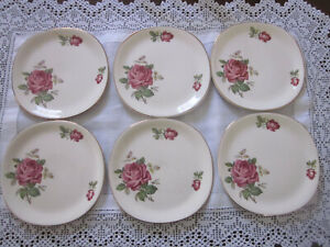 SET OF SIX BEAUTIFUL VINTAGE ALFRED MEAKIN PINK ROSES PLATES