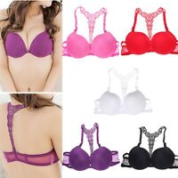 Sexy Womens Front Closure Lace Racer Back Racerback Push Up Seamless Bra