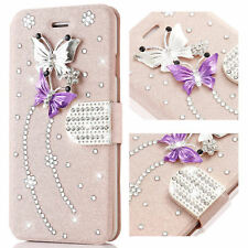 Shockproof Glitter Diamond PU Leather Flip Case Cover For iPhone Samsung Galaxy