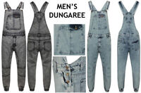 New Men's Denim Acid Wash Full Length Dungarees Jeans Mid Bib Overalls 30 TO 42